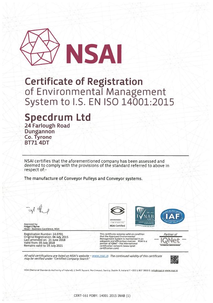 Nsai 14001 Certificate