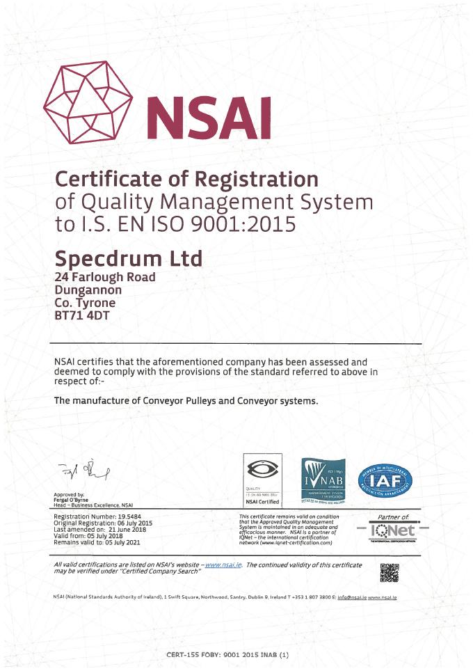 Nsai 9001 Certificate